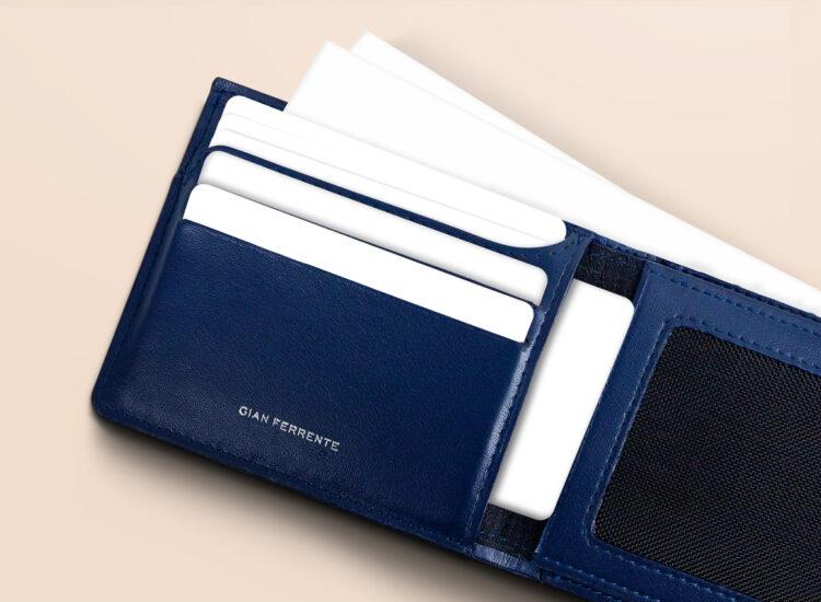 Alfonso Slim Plus Wallet Navy Card Slots