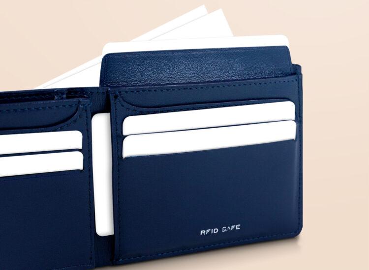 Alfonso Slim Plus Wallet Navy Id Flap