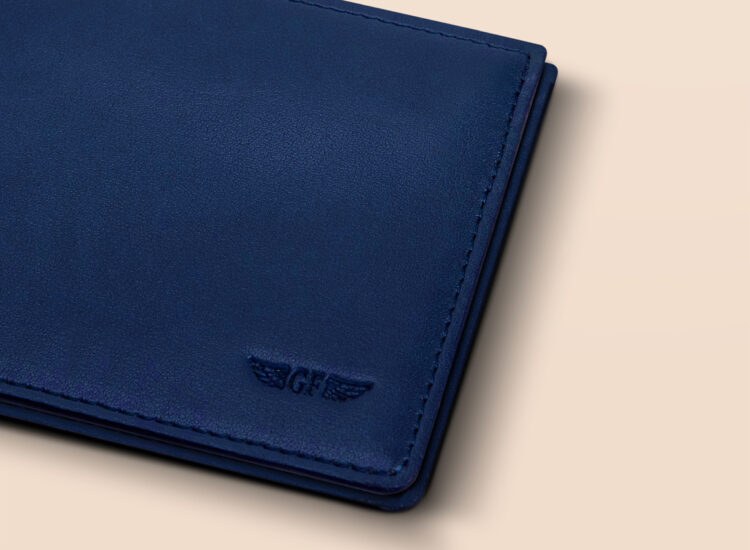 Alfonso Slim Plus Wallet Navy Leather Details