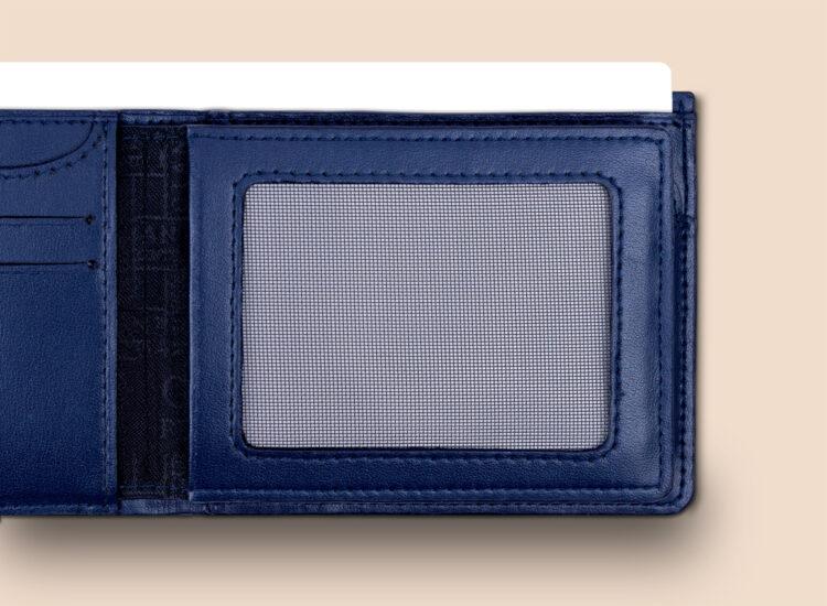 Alfonso Slim Plus Wallet Navy Secret Compartment