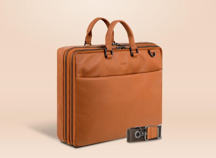 Berto Corporate Laptop Bag Brown Perspective