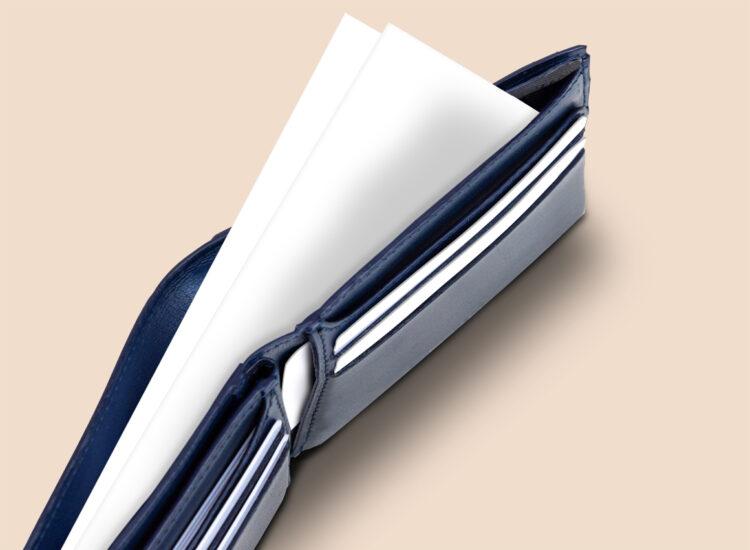 Berto Slim Plus Wallet Navy Bank Note Compartment