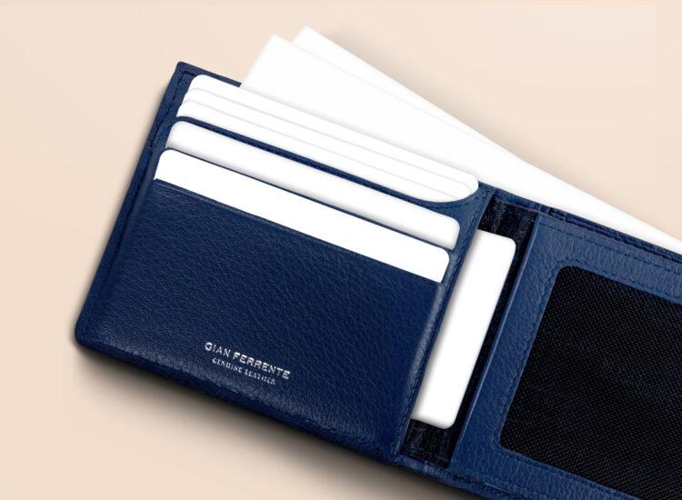 Berto Slim Plus Wallet Navy Card Slots
