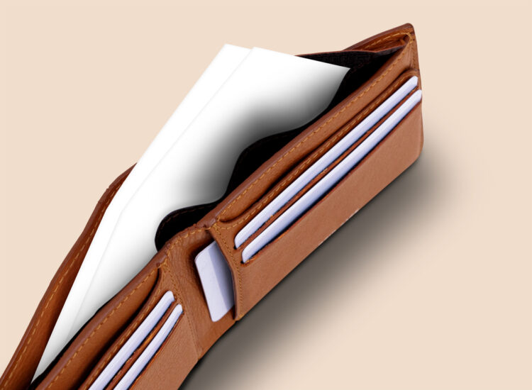 Berto Slim Wallet Brown Bank Note Compartment