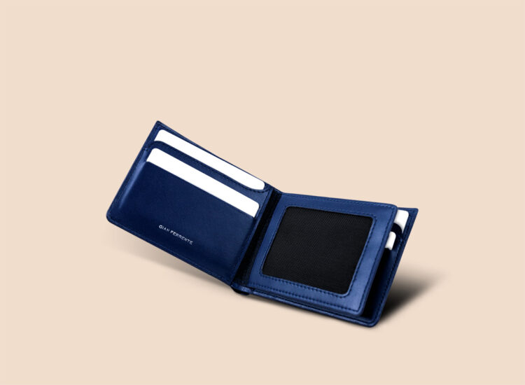 Alfonso Slim Plus Wallet Navy Perspective