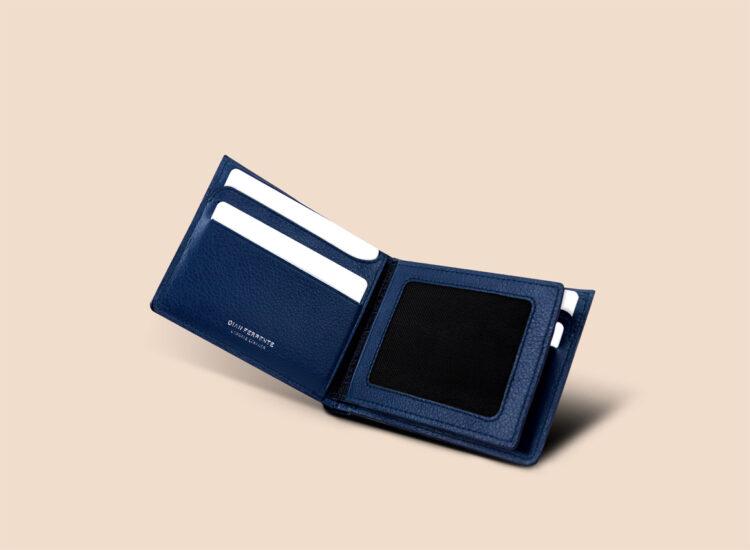 Berto Slim Plus Wallet Navy Perspective