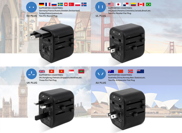Essential Travel Adapter Plug Converter USB Charge Replacable Fuse Worldwide