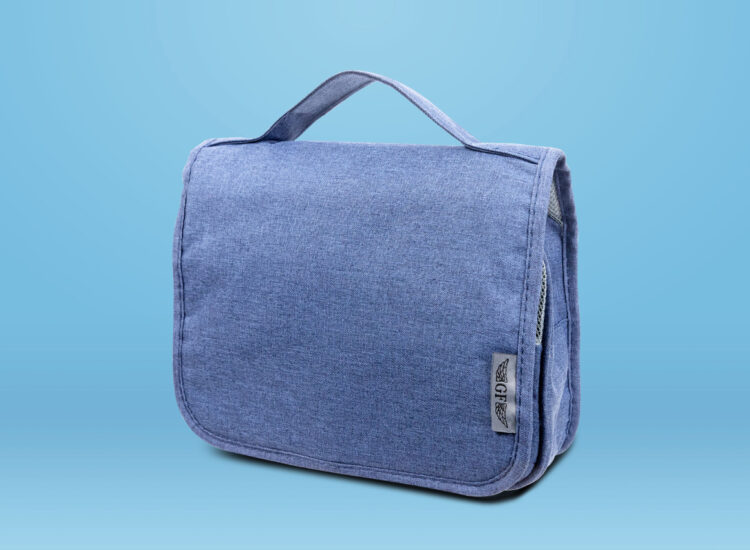 Essential Travel Toiletry Bag With Hanging Hook Blue Front