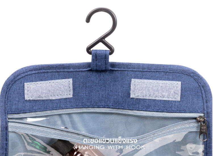 Essential Travel Toiletry Bag With Hanging Hook Blue With Hook